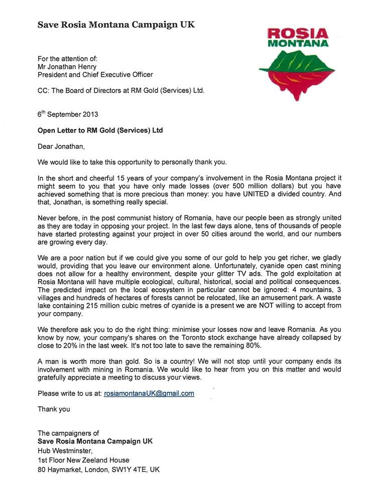 letter addressed to the CEO of Canadian Mining company