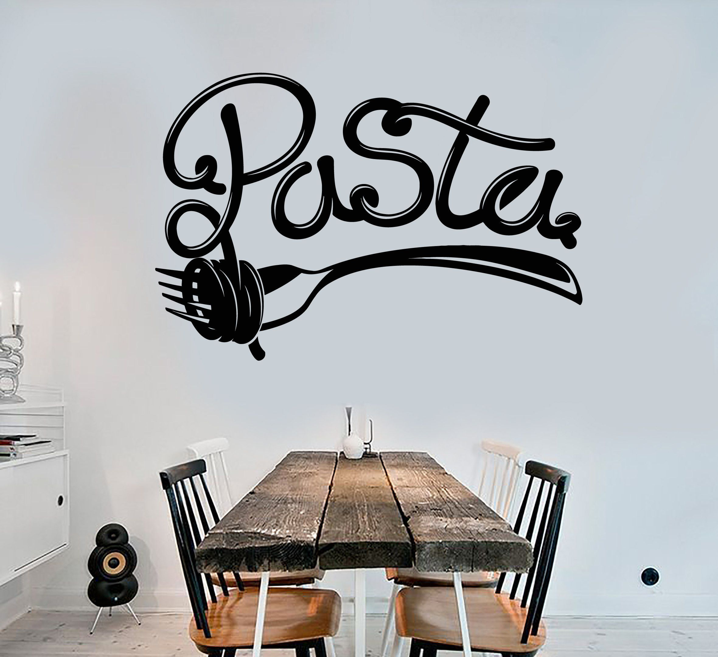 Vinyl wall decal pasta lettering fork italian food for Mural lettering