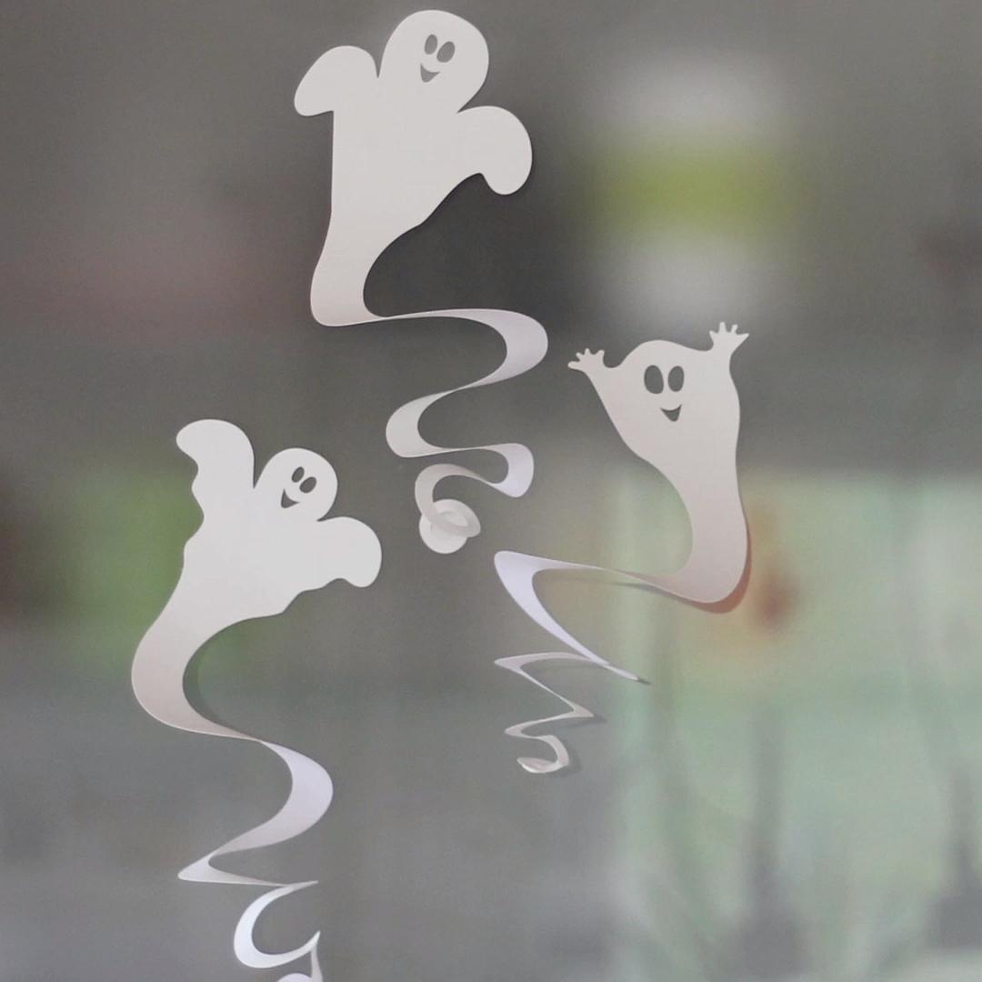 Halloween-Geisterspiralen basteln – mit Vorlage