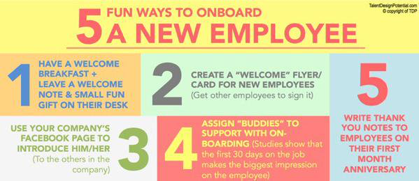 5 fun ways to welcome a new employee to your company work