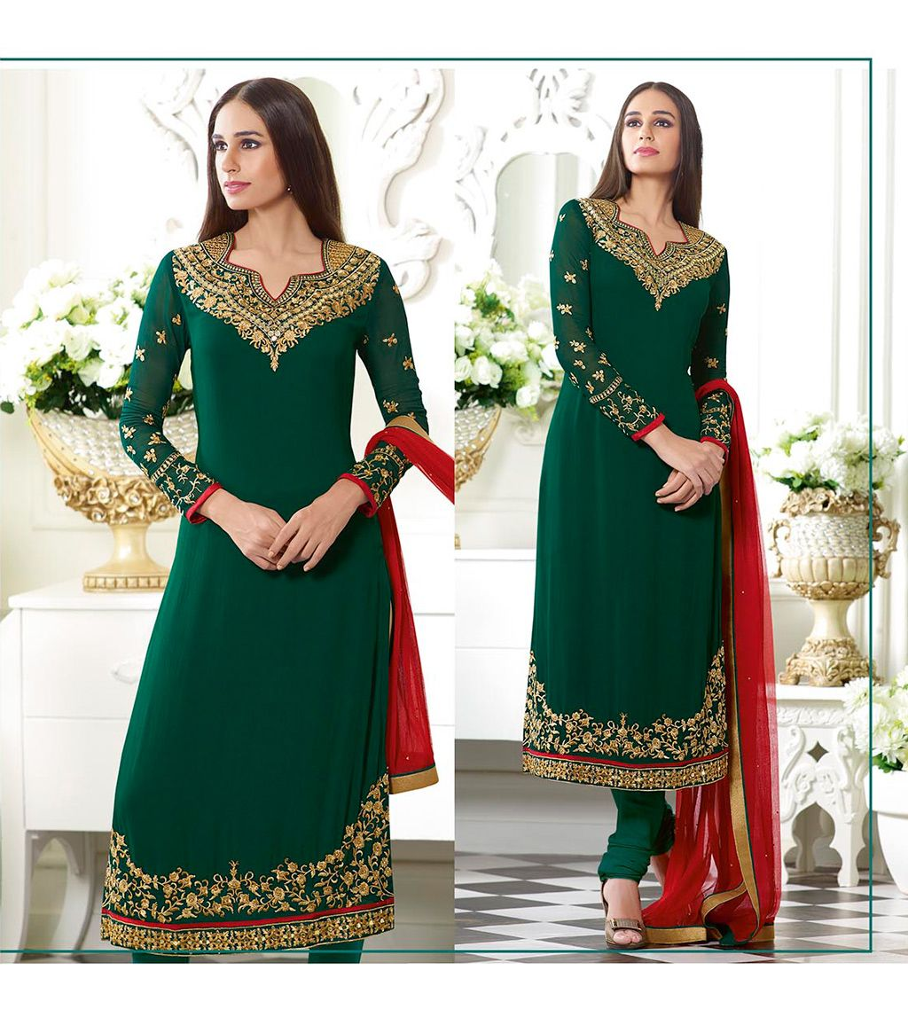 Green Georgette Churidar Suit 69195