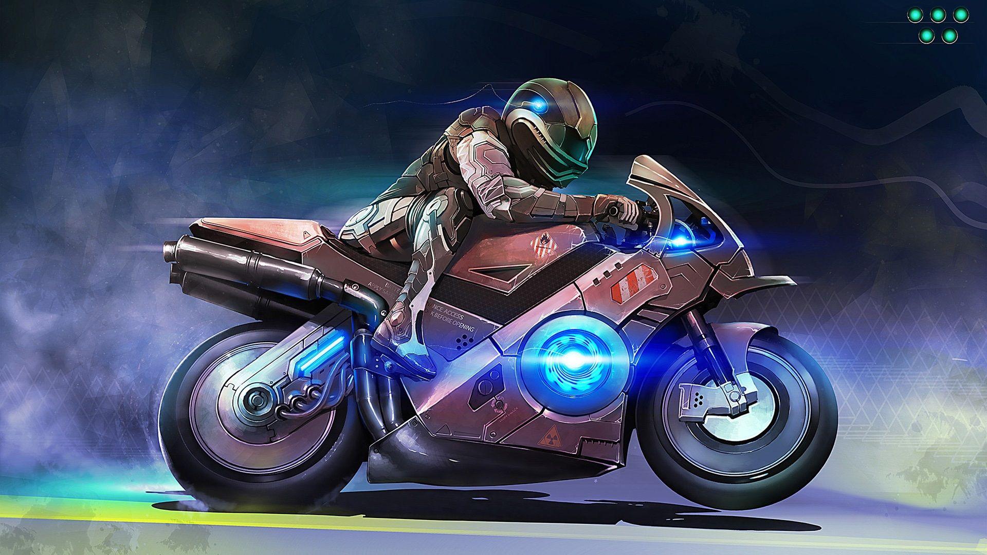 アートデザイン バイク 人物 速 壁紙 1920x1080 アートデザイン