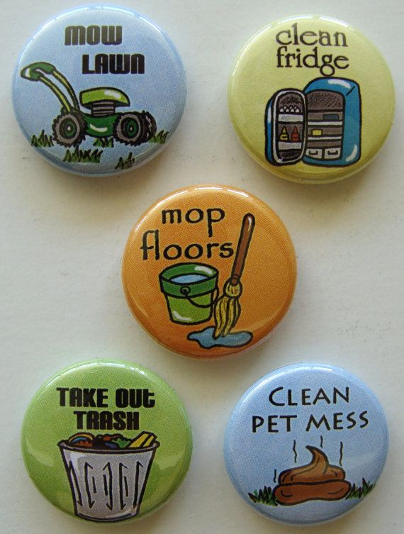 Chore magnets. Check out the one at lower right...chuckle. (Ready to take chores online? Try FamZoo.com)