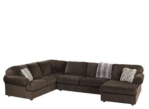jessa place chocolate sectional asley furniture chaise on the room entry side
