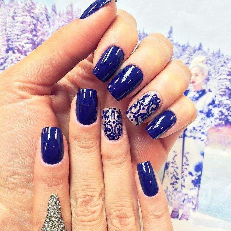déco ongles noël bleuargentidees Nail Art Ongles