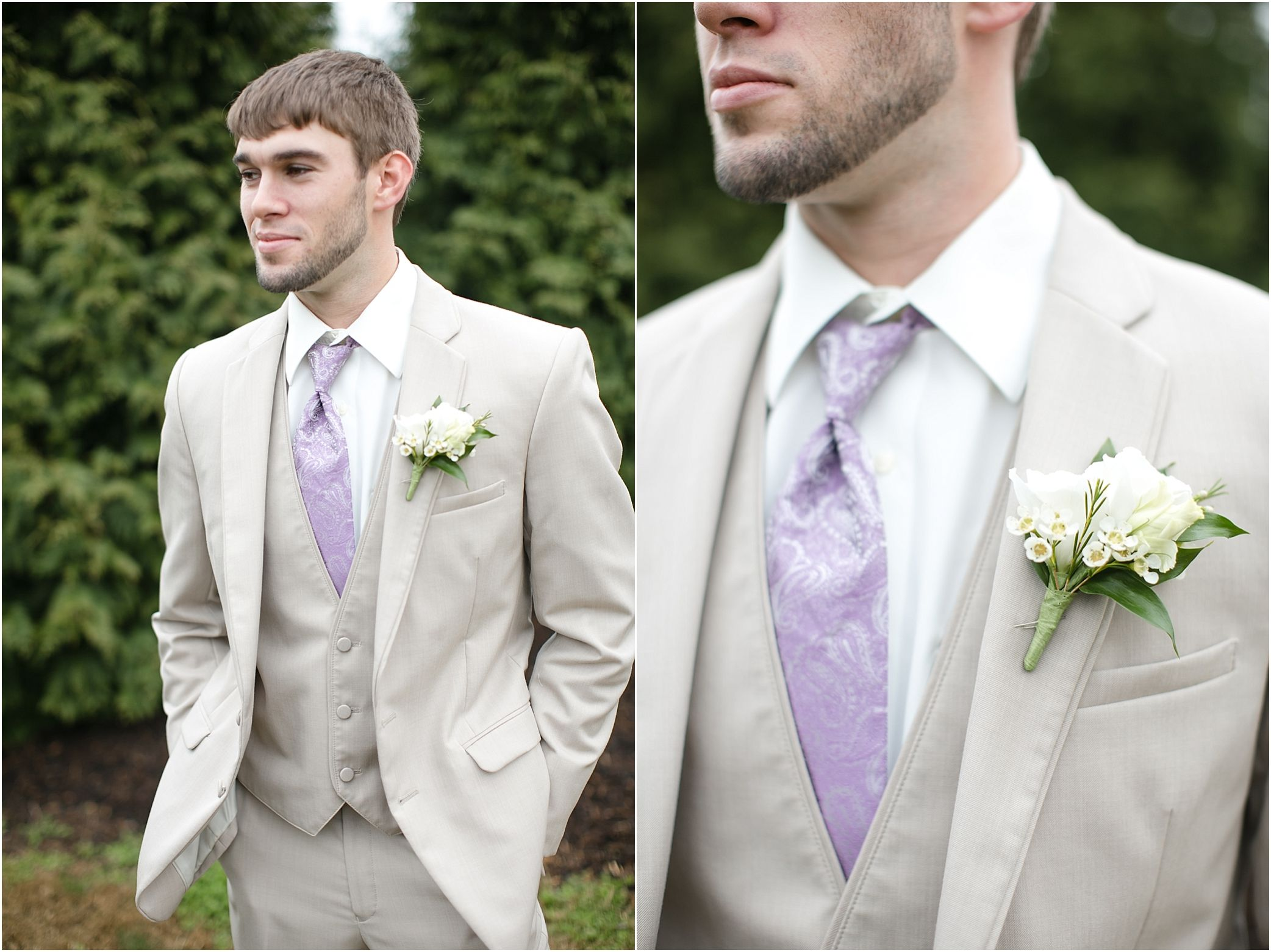 This Groom S Cream Suit Purple Tie And Boutonniere Are Perfect Love These Wedding