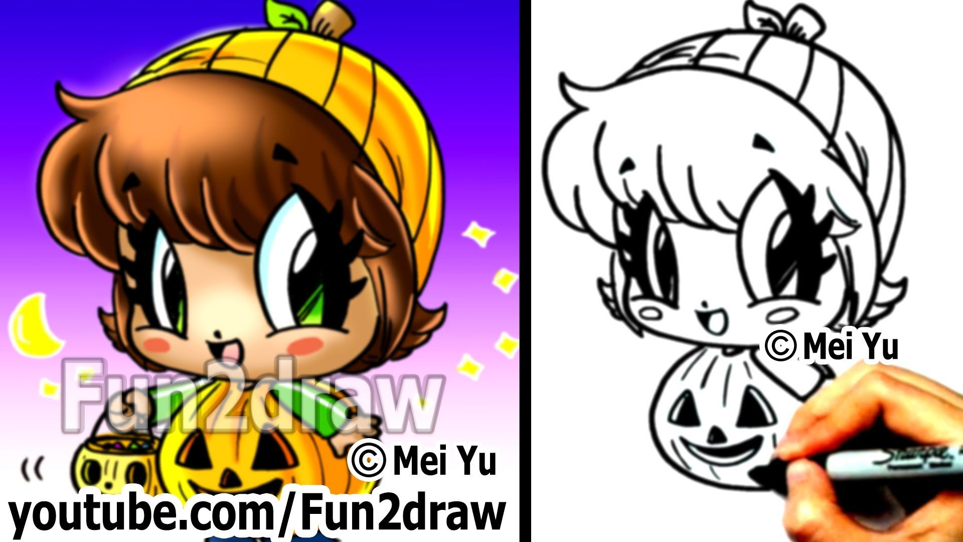 how to draw halloween characters - pumpkin girl (+playlist)   diy