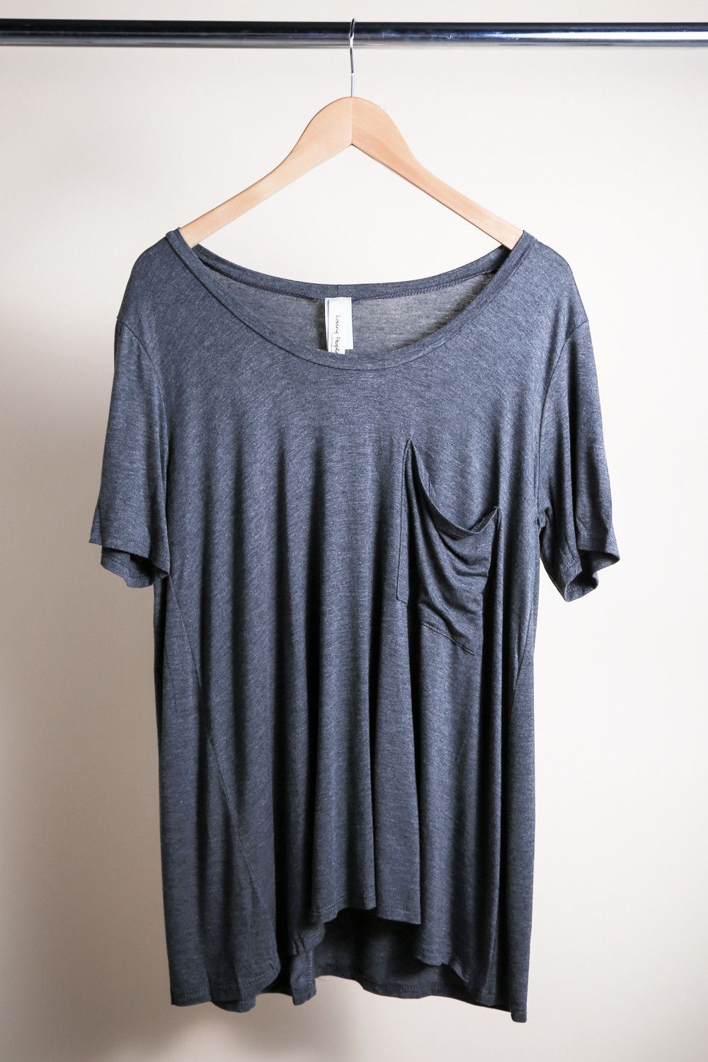 Slouchy Pocket Tee, Charcoal
