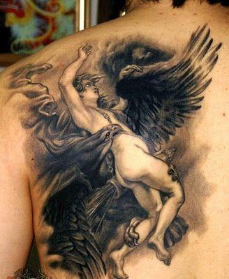 Free Tattoo Designs Fighting Angel Tattoo On The Back Angel Tattoo Angel Tattoo Designs Dark Angel Tattoo