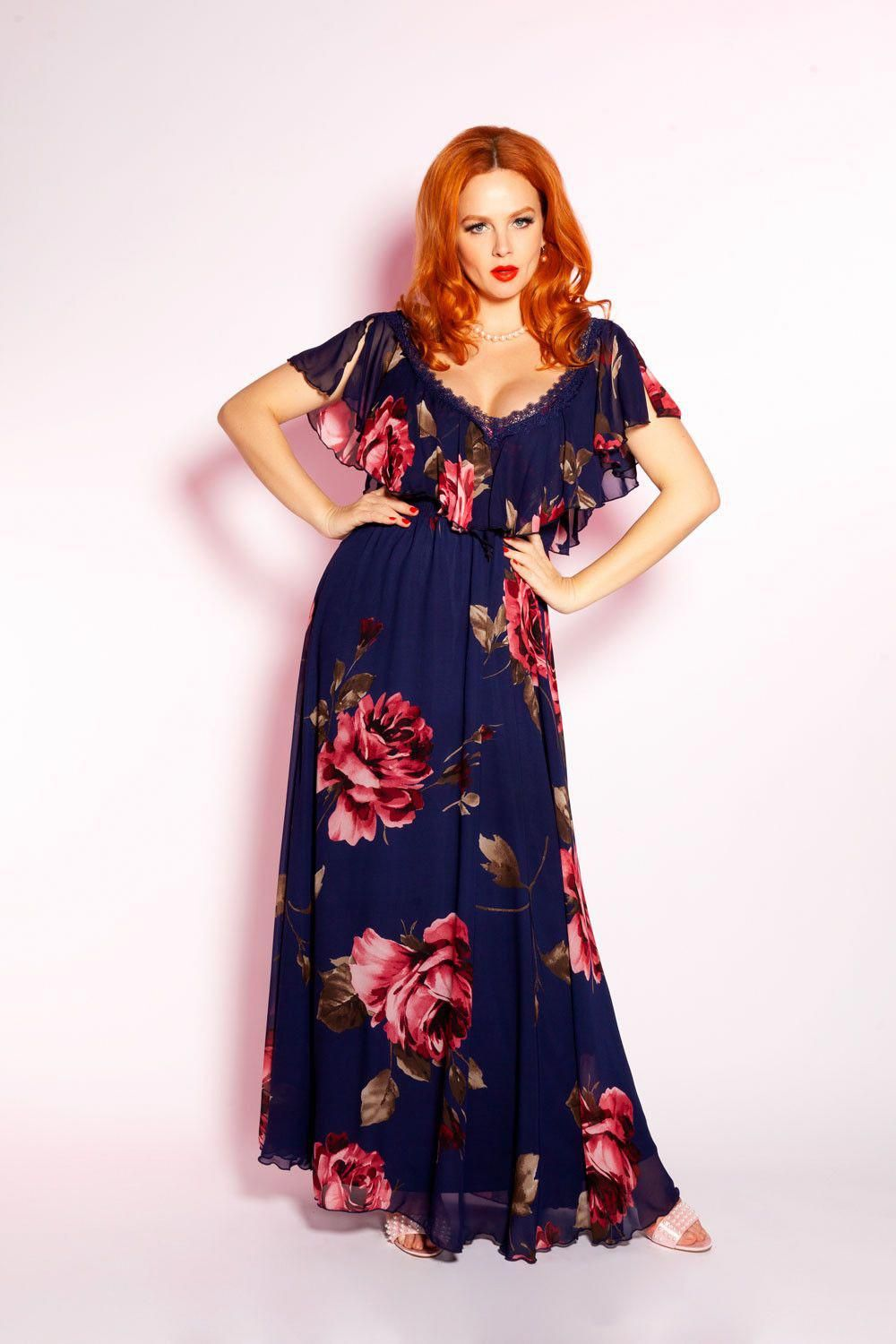 Floral Maxi Dress In Navy Dresses Clothing Xs 4x Pinup Girl Clothing Maxidressessummer Floral Maxi Dress Pinup Girl Clothing Maxi Dress [ 1500 x 1000 Pixel ]