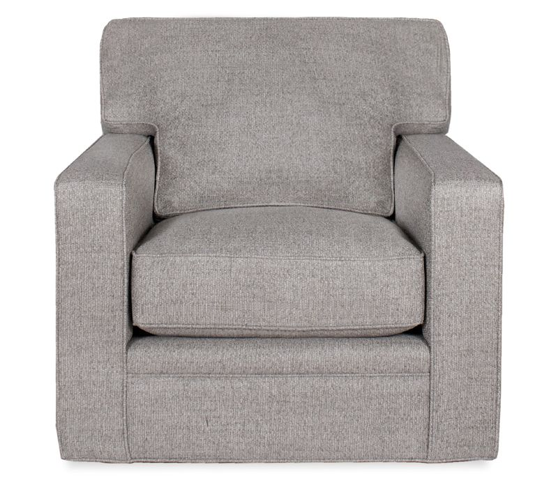 Boston Interiors Atwood Swivel Chair Upholstered In A Durable Textured  Fabric With Solid Maple Legs Stained