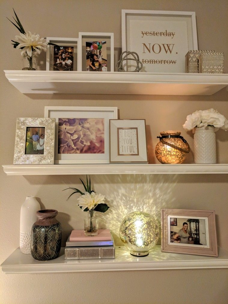 Romantic Glam Floating Shelves In Master Bedroom Shelf Decor Living Room Floating Shelf Decor Floating Shelves