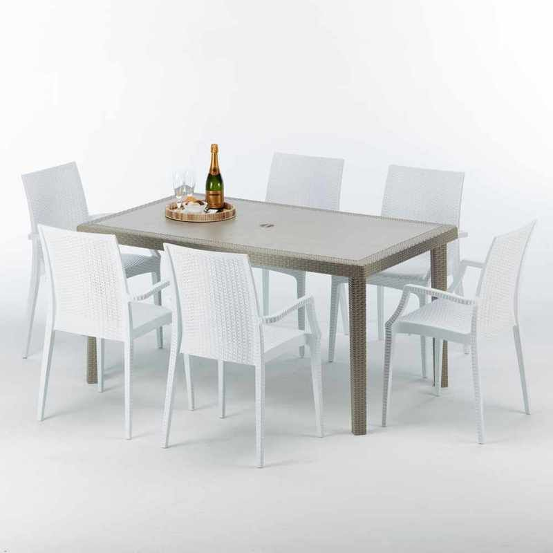 Table Rectangulaire Et 6 Chaises Poly Rotin Resine Ensemble Bar Cafe Exterieur 150x90 Beige Marion Bistrot Arm Blanc Grand Soleil Table Colorful Chairs Dining Table