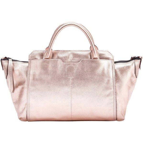 Liebeskind Fuji Leather Shoulder Bag, Copper ($310) ❤ liked on Polyvore featuring bags, handbags, shoulder bags, leather purses, leather man bags, leather shoulder handbags, pink leather purse and pink leather handbags