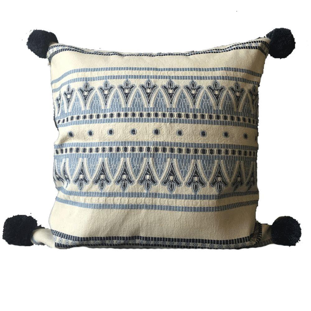 Embroidered pom pom pillow monica x