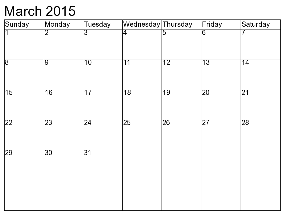 free march 2015 calendar printbale simple template