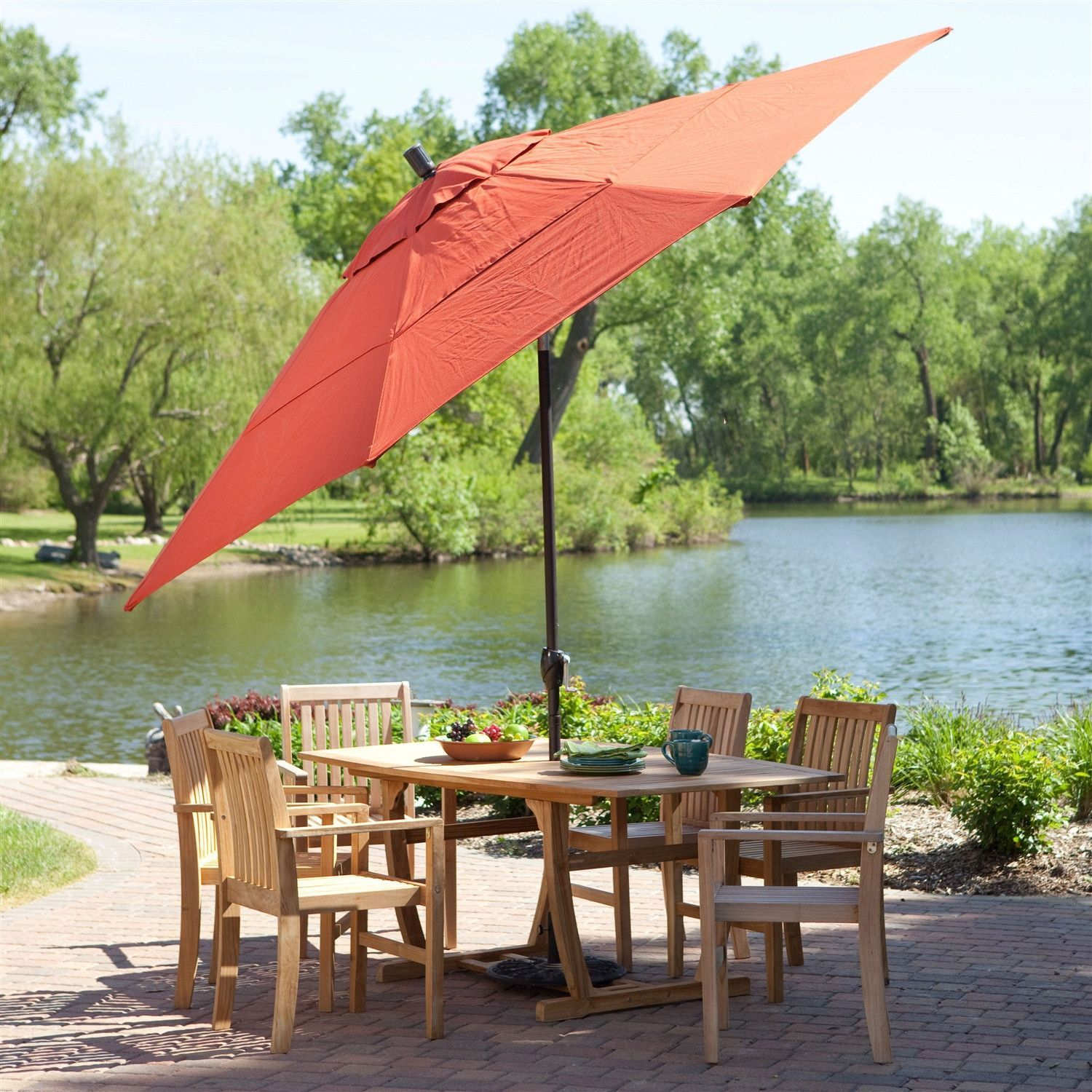 Push Button Tilt 11-Ft Patio Umbrella with Brick Red Orange Canopy & Push Button Tilt 11-Ft Patio Umbrella with Brick Red Orange Canopy ...
