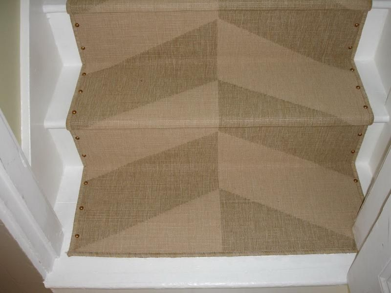 Best Chevron Patterned Stair Runner W Upholstery Tacks Holding 640 x 480