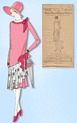 1920s-Ladies-Home-Journal-Sewing-Pattern-5406-Uncut-Flapper-Cocktail-Dress-36-B