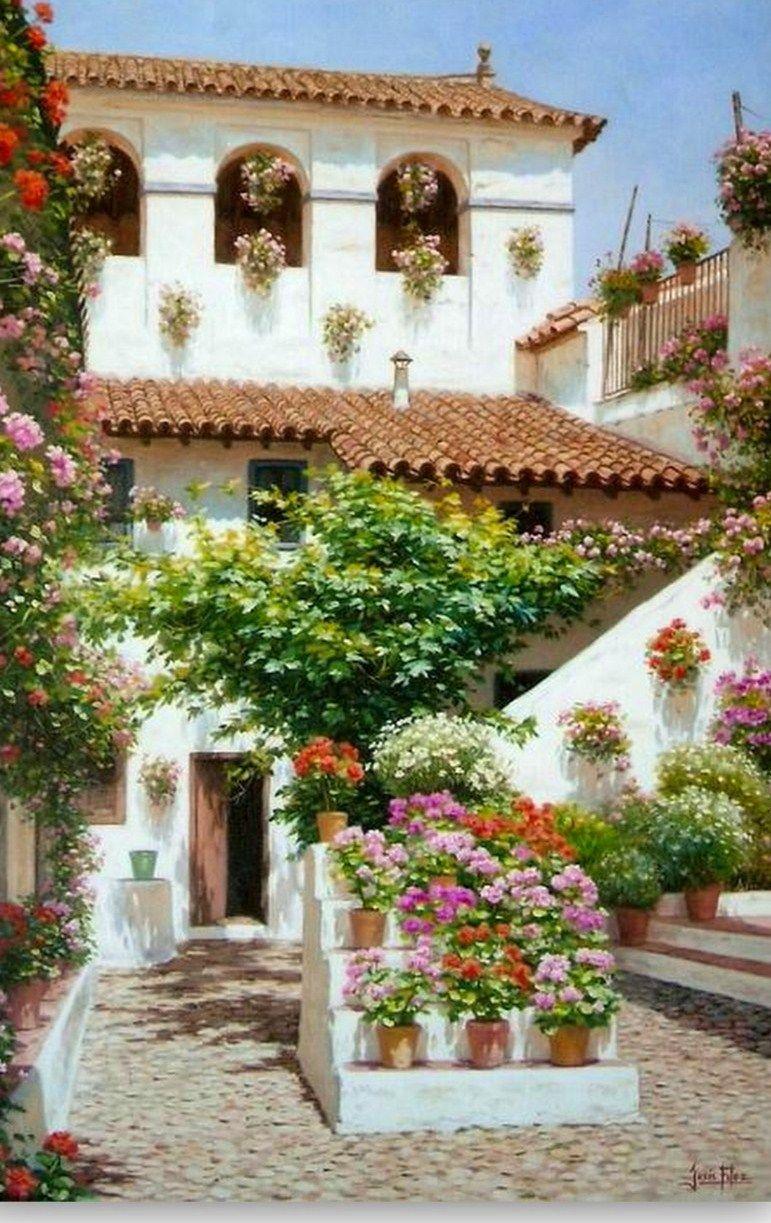 Pinturas Cuadros Pinturas Paisajes Con Flores Paisajes Flores Paisajes Patios Cordobeses