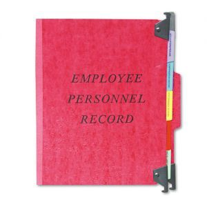 """Esselte Hanging Style Personnel Folder - 9.50"""" x 11.75"""" - 1/3 Tab Cut - 5 Dividers - 2"""" Expansion - 1"""" Capacity - 1 Each - 20 pt. - Red"""