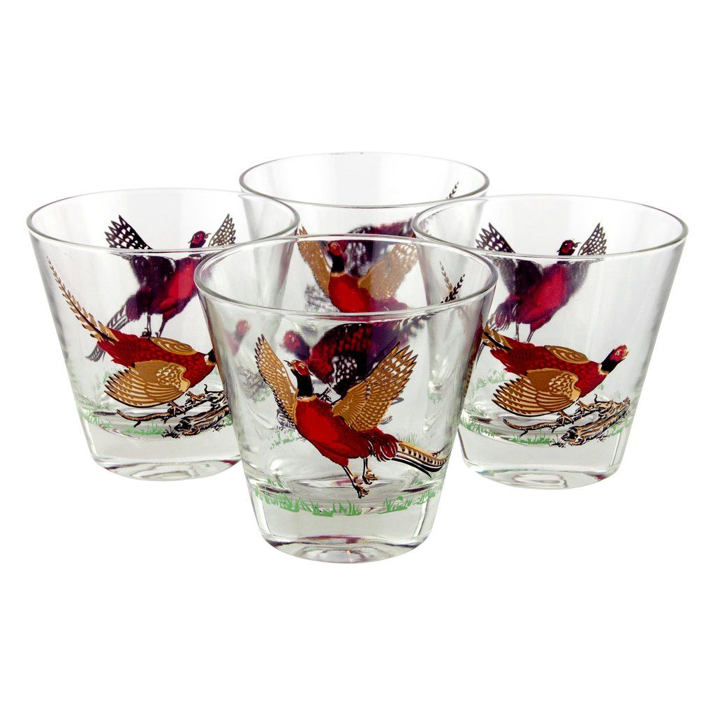 Pheasant Mid Century Vintage Double Old Fashioned Cocktail Rocks Glasses Available At The Hour Thrhourshop Cocktail Glassware Old Fashioned Glasses Fashion
