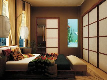Contemporary Bedding Furniture Sets in Japanese Bedroom Interior