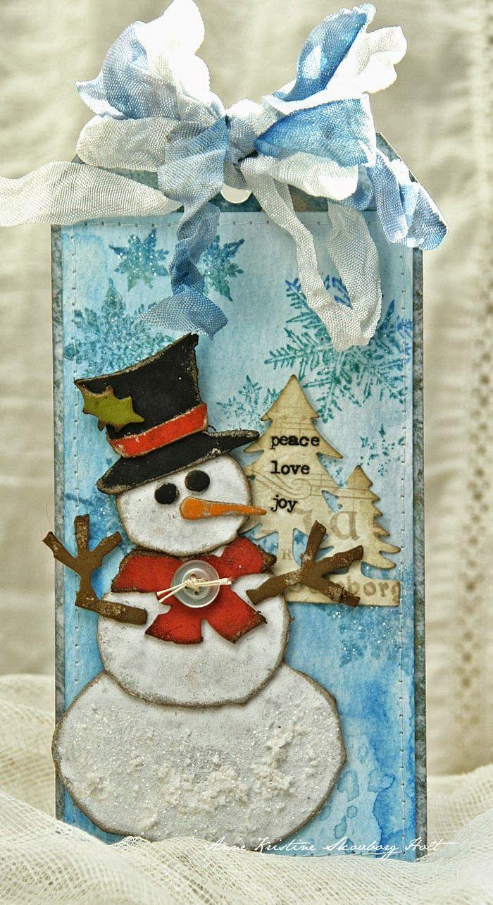 Днем рождения, открытка со снеговиками внутри