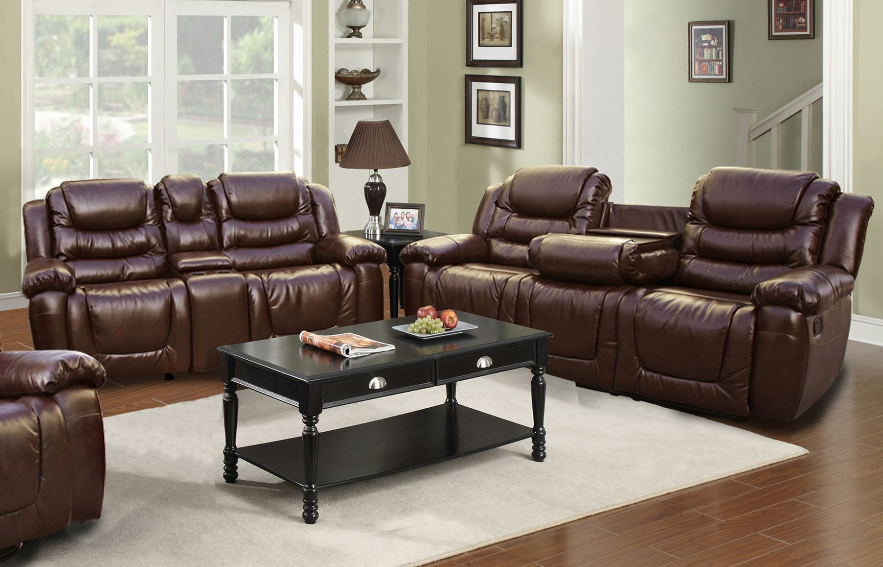 Ottawa 2 Piece Bonded Leather Reclining Living Room Sofa Set