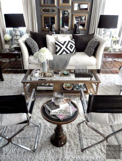 Classic Black and White Decor Room, Black and Living rooms