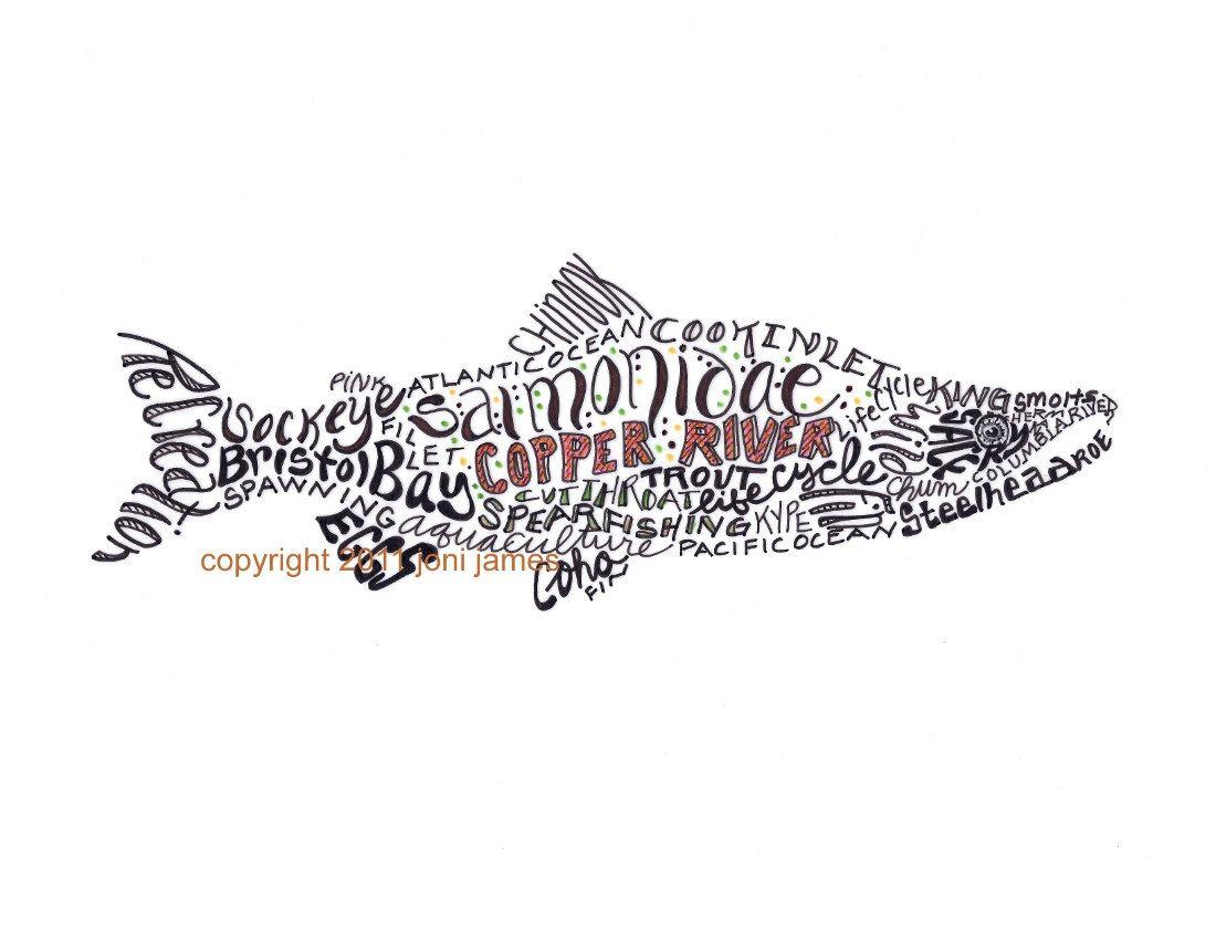 Co color art printing alaska - Items Similar To Alaska Salmon Art Print Fish Typography Calligram Fish Illustration Or Fish Art Print Salmon Drawing Copper River Salmon Word Art Print