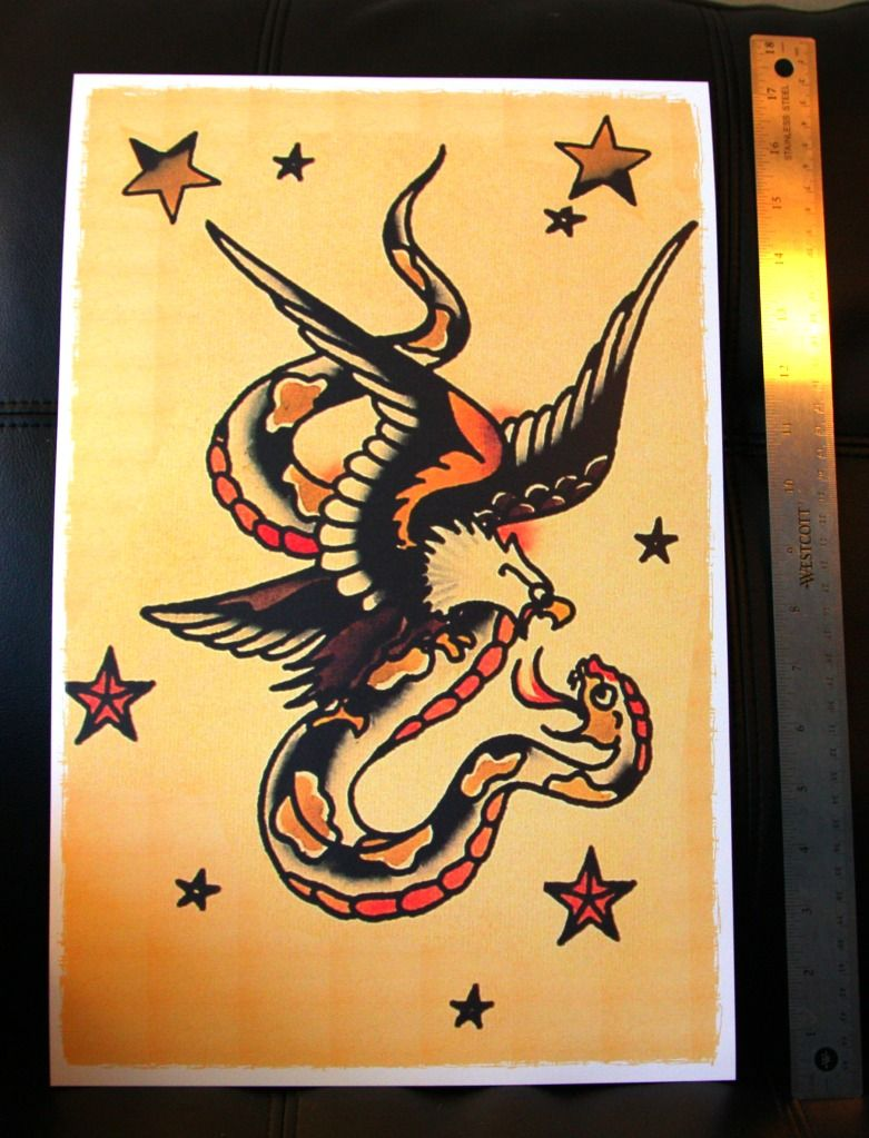 9dfd3a829 Details about Eagle Fighting Snake vintage Sailor Jerry Traditional ...