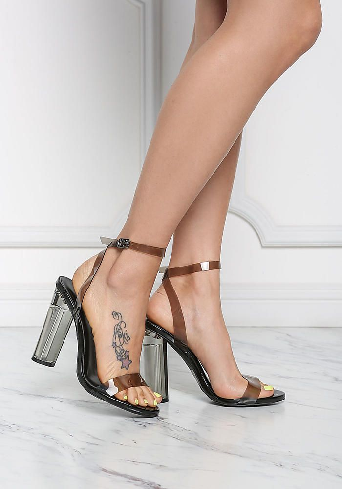 a8c2d0714a Black Clear Ankle Strap Block Heels - Shoes | Love Culture l Step Up ...
