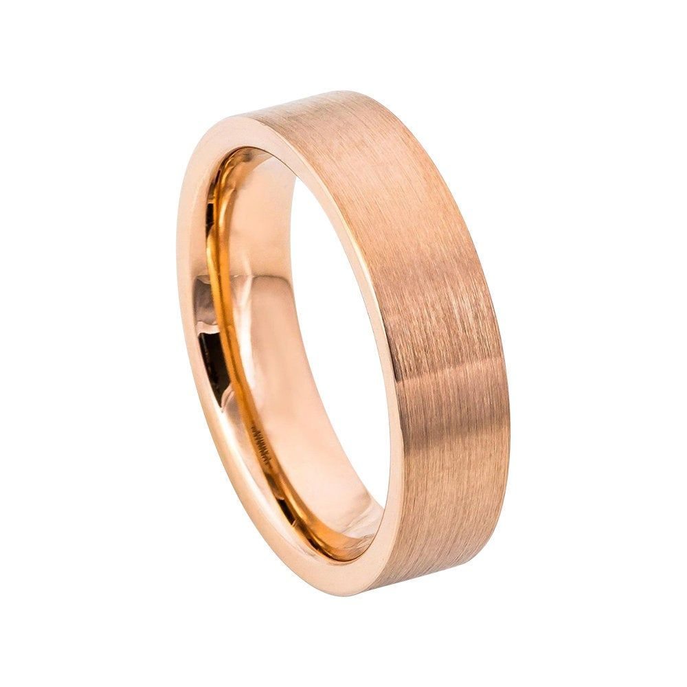 Rose Gold Tungsten Ring Mens Wedding Band 6mm Engagement