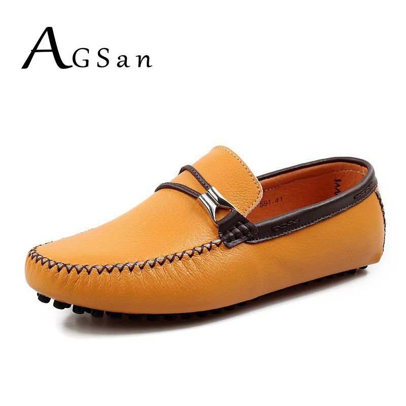 AGSan men classic loafers split leather driving shoes designer moccasins  white yellow black brown man shoes