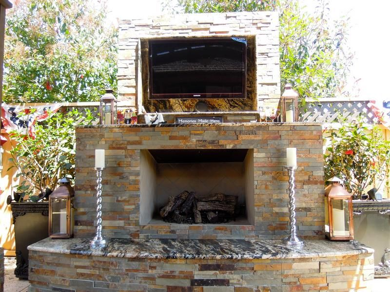 outdoor fireplace with tv - Google Search
