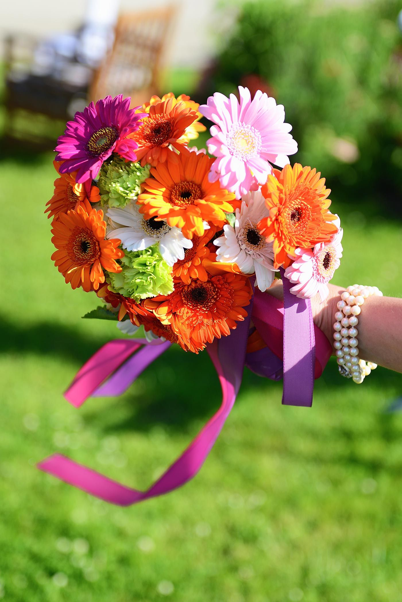 Brautstrau Gerbera in bunt  Blumen  Brautstrau gerbera
