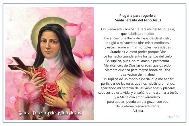 Imagen para imprimir de la plegaria para rogarle a Santa Teresita del Niño Jesús o Teresa de Lisieux
