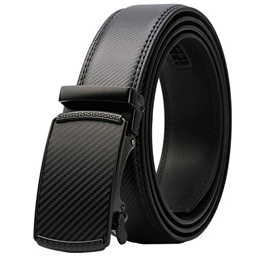 Mens Leather Ratchet Dress Belt with Automatic Buckle Gift Box