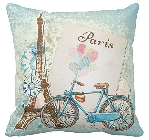 Kissenday 18X18 Inch Popular Romantic Paris Bike Flower Cotton Polyester Decorative Home Decor Sofa Couch Desk Chair Bedroom Car Lovely Sweet Birthday Cool Novelty Gift Square Throw Pillow Case Theme: Cute Fun Balloon Hand Drawn Valentine's Day Good Idea Eifel Tower living room, bedroom, office, dining French Country Cottage Ride Springtime French Ideas Tatertots Jello Nordic Cartoon Vintage Bus Taxi Factory Supply Good Quality Flower Decoupage Napkin Floral Bouquet Pink Roses Blue Pretty