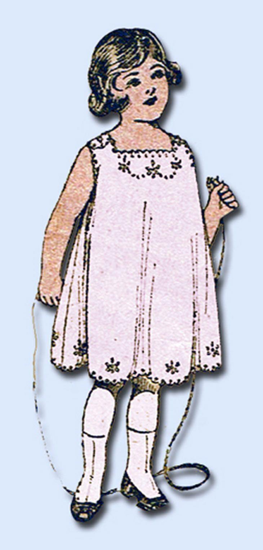 1910s Vintage Peerless Sewing Pattern 8142 FF Toddler Girls Scallop Slip Size 2