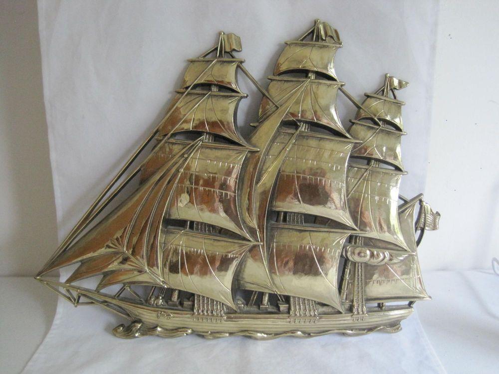 Mid Century Wall Decor syroco gold clipper ship wall decor mid century sailing vessel