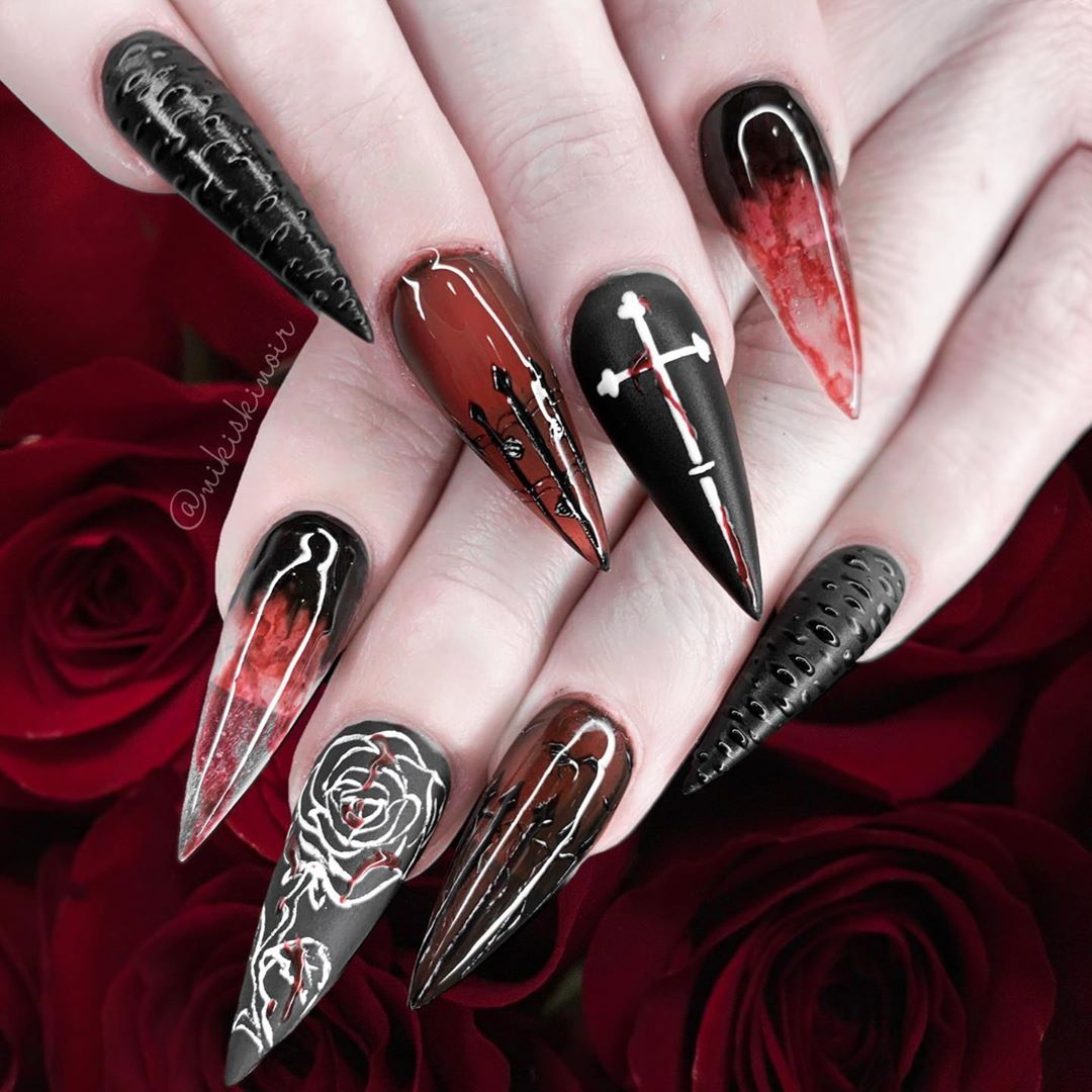 30 Striking & Spooky Halloween Nail Art Ideas | Goth nails ...