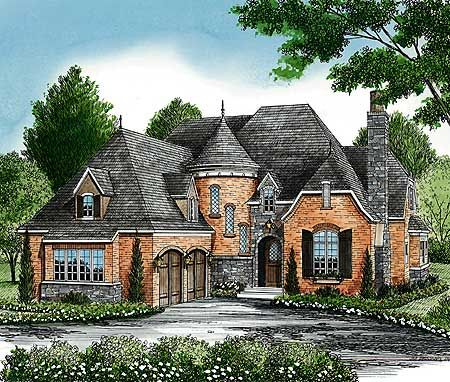 Plan 17587lv Charming European House Plan With Circular Stair In 2021 French Country House Plans European House French Country House