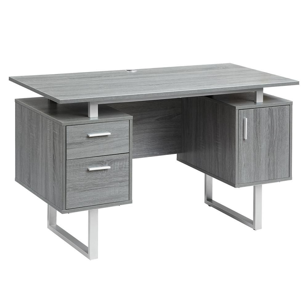 Techni Mobili Gray Modern Office Desk With Storage Rta 7002 Gry