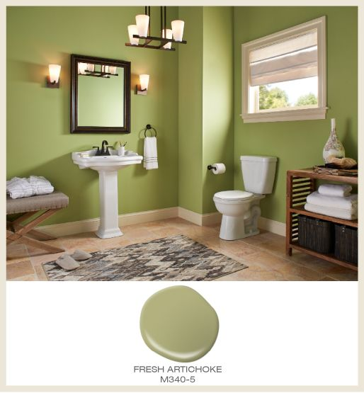 Colorfully Behr Bathroom Color Splendor: Even As An Over All Color, Green Does Not Overwhelm. Add A Splash Of It A Bathroom! Featured