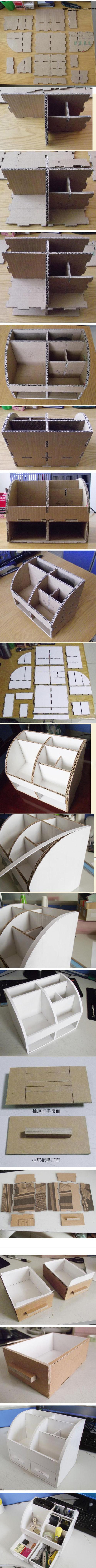 DIY Carton Office Stationery Box DIY Projects / UsefulDIY.com