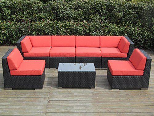 Wicker Furniture 7pc Sofa Set, Red Outdoor Furniture