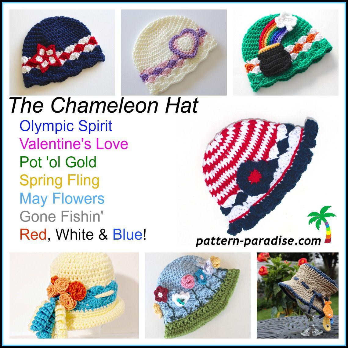 FREE Crochet Pattern - Chameleon Hat Red, White & Blue | Crochet ...