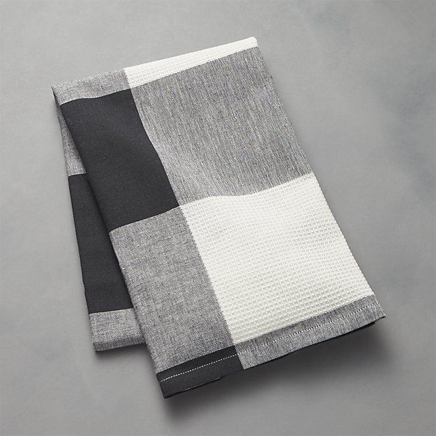Shop Black Check Dish Towel Decked Out In An Oversized White And